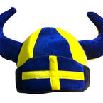 Blue and yellow viking hat
